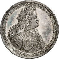 Mecklenburg-Schwerin. Friedrich Wilhelm I. Medal struck in 1701 in celebration of the Treaty of Hamburg. INCLUDING EDGE LETTERING unique. Extremely fine. From Künker Auction 314 (October 9, 2018), no. 4099. Estimate: 10,000 euros.
