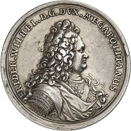 Mecklenburg-Schwerin. Friedrich Wilhelm I. Medal made in 1703 marking the awarding of the Danish Order of the Elephant. Very rare. Very fine. From Künker Auction 314 (October 9, 2018), no. 4103. Estimate: 2,000 euros.