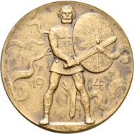 Medal featuring a bearded Germanic warrior holding a sword and shield, surrounded by 5 snakes, 1914. Landesmuseum Württemberg, Stuttgart.
