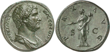 The most expensive Roman coin: A sestertius of Hadrian, probably the work of Antoninianos of Aphrodisias. Sold for 2 million Swiss francs at Numismatica Genevensis Auction 5 (2008), No. 233.