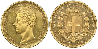 Carlo Alberto, 1831-1849. 100 Lire, Turin, 1833. MIR 1043c. Unique in this condition. NGC Proof63 Cameo. Estimate: 20,000 euros. From Gadoury Auction (November 17, 2018), no. 1735.
