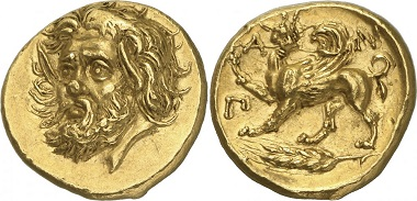 This Pantikapaion gold stater set a world record price at 3.25 million U.S. dollars.