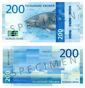 The updated 200 Kroner banknote is dedicated to Norwegian sea life. Photo: Norges Bank.