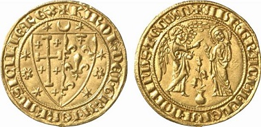 Charles I of Anjou. Saluto d'oro. Annunciation scene. Purchased in 1965 – the first coin of the de Wit Collection.