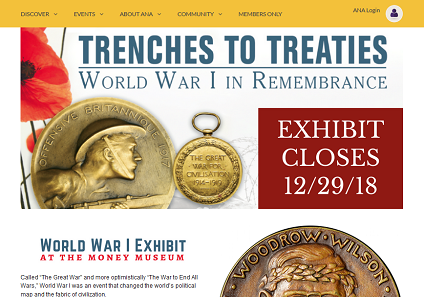 The World War I exhibit shows coins and paper money from combatant nations.