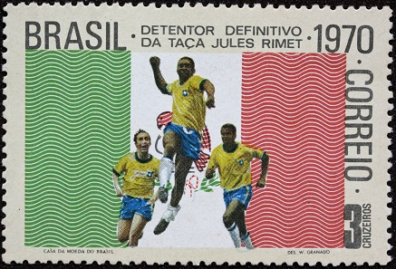 Brazilian stamp of 1970 celebrating the World Cup team.