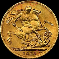 Counterfeit 1913 Great Britain Sovereign No. 1.