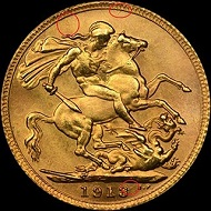 Counterfeit 1913 Great Britain Sovereign No. 2.