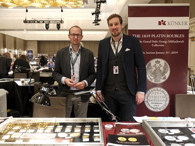 Auction house Künker was one of the few representatives from Germany. Seen here: Ulrich Künker and Fabian Halbich. Photo: Björn Schöpe.