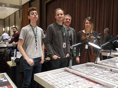 The young team of Atlas Numismatics is always in a good mood: Rexford Goldbaum, James Ricks, Christopher Baker and Kira Eisenach. Photo: Björn Schöpe.
