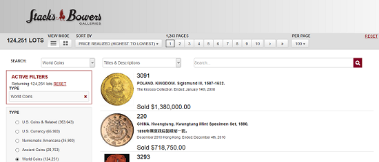 The Stack's Bowers Galleries Auction Archives allow you combine numerous modifiers in various sections.