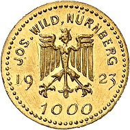 Josef Wild. 5 gold marks 1923. Nearly FDC. Price estimate: 250.- euros. From Künker auction 321 (15 March, 2019), No. 6811.
