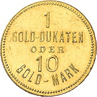 Josef Wild. 10 gold marks without year (1924). Extremely fine. Price estimate: 300.- euros. From Künker auction 321 (15 March, 2019), No. 6819.
