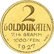 Josef Wild. 2 gold ducats 1927. Nearly FDC. Price estimate: 1,000.- euros. From Künker auction 321 (15 March, 2019), No. 6823.