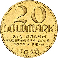 Josef Wild. 20 gold marks 1928. Extremely fine to FDC. Price estimate: 2,000.- euros. From Künker auction 321 (15 March, 2019), No. 6824.