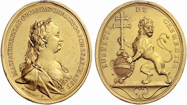 No. 738: AUSTRIA. Maria Theresia (1740-1780). Gnadenmedaille of 14 ducats n. d. (M. Donner, Vienna) on the Bohemian Coronation. Holzmair 29 (in gold not verifiable). Realized: 11,000 euros.