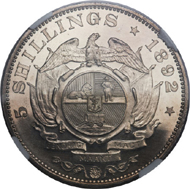 25061: Republic Proof 5 Shillings 1892, KM8.2, Hern-Z36, Double Shaft, estimated mintage 25 pieces, PR66 Cameo NGC. Very rare. From The Orange River Collection. Estimate: $75,000-$100,000. Realized: $161,000.