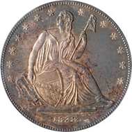 Lot 1434: 1838 Gobrecht Dollar, Name Removed, Judd-84 Restrike, Pollock-93. R.5, Proof 63 PCGS. Sold for $49,140.