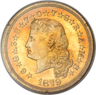 4961: 1879 Flowing Hair Stella, Judd-1635, PR64. Realized: $184,000.