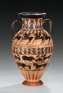 24 WALTZ COLLECTION. Tyrrhenian neck-amphora of the Castellani Painter. 560-550 BC. H. 40.3 cm. Estimate: 15,000 / Final Price: 115,000 EUR.