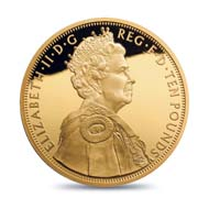 Great Britain / 10 GBP / 5oz .999 gold / 156.295 g / 65.00 mm / Design: Ian Rank-Broadley FRBS / Mintage: 250.