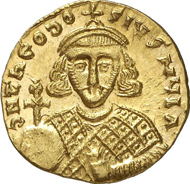 No. 829: THEODOSIUS III, 715-717. Solidus. MIB 1. DOC 1. Füeg 1.B.4. FDC. Estimate: 3,500 EUR. Final Price: 9,315 EUR.