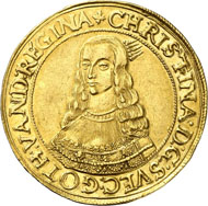 No. 7053: SWEDEN. Christina (1632-1654). 10 ducats 1645. Ahlström 30 (XR, this specimen, under Erfurt); Fb. 926 (