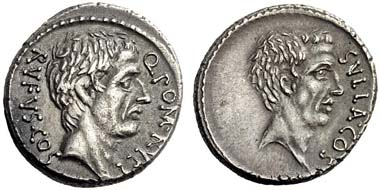 396: Q. Pomponius Rufus. Denarius, 54. Rv. Portrait of the dictator Sulla. Cr. 434/1. Extremely fine. Starting price: 600 euros. Hammer price: 5,200 euros.