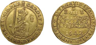 1016. Charles I, 1625-1649, Gold Triple Unite, 1642. Realized: $87,750.