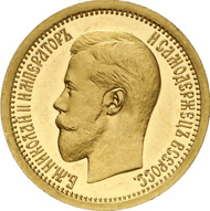 Lot 1684: RUSSIA. Nicholas II (1894-1917). 5 roubel (1/2 imperial) 1895. Bitkin 320 (R3). Fb. 175. Mintage only 36 specimens. Splendid specimen. PP, only slightly touched. Estimate: 100,000 euros. Hammer price: 180,000 euros.