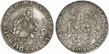 Lot 233: COUNTY OF BARBY. Wolfgang II (1586-1615). Reichsthaler 1615, Barby. Dav. 6060. Of utmost rarity, probably unique. Attractive, very nice specimen. Estimate: 50,000 euros. Hammer price: 70,000 euros.