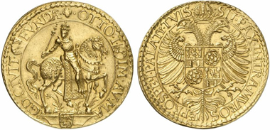 Lot 428: MAGDEBURG, TOWN. 10 ducats n. y. (1599). v. Schr. 954. Of utmost rarity, extremely fine specimen from Hess-Divo Auction 278, Zurich 1999, lot 20 and Schweizerischer Bankverein Auction 44, Basel 1998, lot 506. Estimate: 60,000 euros. Hammer price: 95,000 euros.