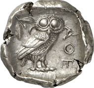 Lot 224. Greeks / Attica. ATHENS. Tetradrachm, after 449 B. C. Starr pl. 22f. Extremely fine. Estimate: 5,000 euros. End result: 12,650 euros.