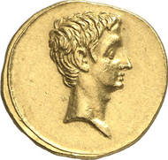 Nr. 547. Roman Imperial Times. AUGUSTUS, 27 B. C.-A. D. 14. Aureus, 29-17, Brindisi(?). RIC 268. From Kricheldorf 8 (1969), 198. Extremely fine to mint state. Estimate: 20,000 euros. End result: 57,500 euros.