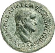 Lot 579. Roman Imperial Times. GALBA, 68-69. As, 69. RIC - (cf. 491f). Extremely rare variant. Dark-green, untouched patina. Extremely fine. Estimate: 1,500 euros. End result: 12,075 euros.