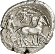 Lot 1172. Greeks / Sicily. SYRACUSE. Tetradrachm, 510-485. Boehringer 46. By Master of the Large Arethusa Heads. Good very fine. Estimate: 1,000 euros. End result: 12,650 euros.