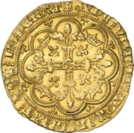 2444: France. PHILIP VI, 1328-1350. Couronne d'or n. y. (January 29, 1340). Duplessy 252. Extremely fine to mint-state. Estimate: 35,000 euros. Hammer price: 46,000 euros.