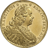 6172: Germany. NUREMBERG. 6 ducats 1745. Gold pattern of the reichsthaler dies, with title of Francis I. Fb. 1908. Extremely fine. Estimate: 10,000 euros. Hammer price: 38,000 euros.
