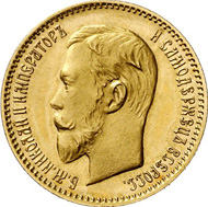 8617: Russia. NICHOLAS II, 1894-1917. 5 rouble 1907, St. Petersburg. Bitkin 33. Mintage only 109 specimens. Mint-state. Estimate: 25,000 euros. Hammer price: 110,000 euros.
