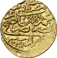 9818: OTTOMAN EMPIRE. Mustapha I ibn Muhammad III, 2nd reign, 1031-1032 AH (= 1622-1623). Sultani, Amid (Diyarbakir), 1031 (= 1622). Damali 15-AD-A1 (this specimen). Unique specimen. Very fine to extremely fine. From auction sale Peus 338 (2006), 382. Estimate: 7,500 euros. Hammer price: 22,000 euros.