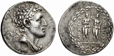 177: Eumenes II (Mysia). Tetradrachm, after 189 B. C. SNG France 5, 1627. BMC 47var. 3rd known specimen. Extremely fine. Starting price: 18,000 euros. Hammer price: 170,000 euros.