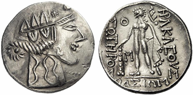 9: East Celts (Thrace). Imitation of a tetradrachm from Thasos, after 148 B. C. Lukanc 1263. Rare. Extremely fine. Starting price: 210 euros. Hammer price: 2,000 euros.