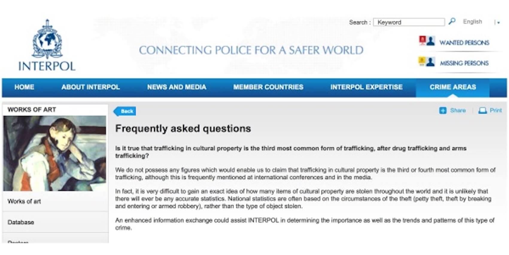 Interpol Removes Misleading Information on Illicit Trade in Cultural