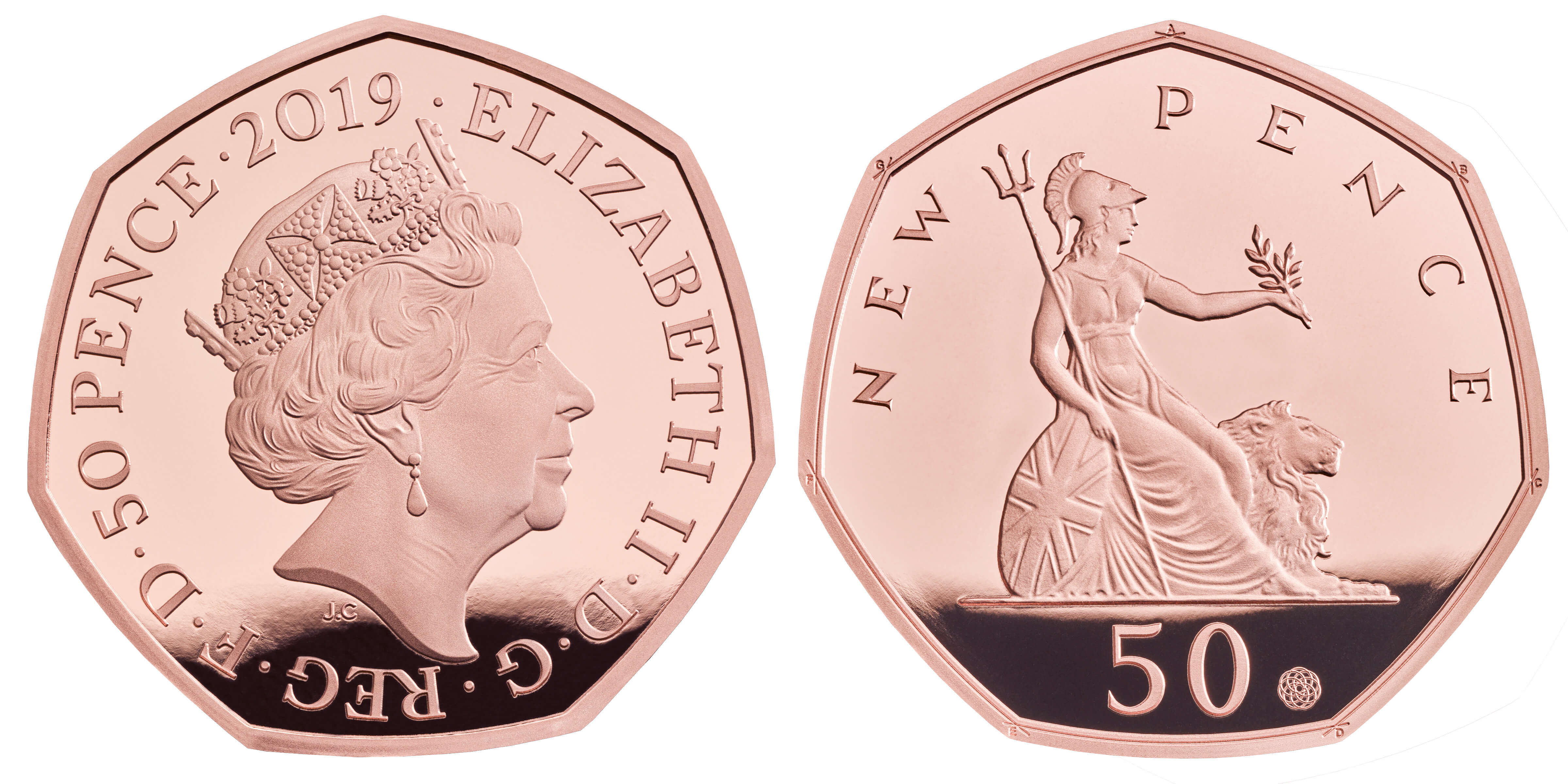 Great Britain Britannia 50P New Pence 1969 Uncirculated Excellent Condition